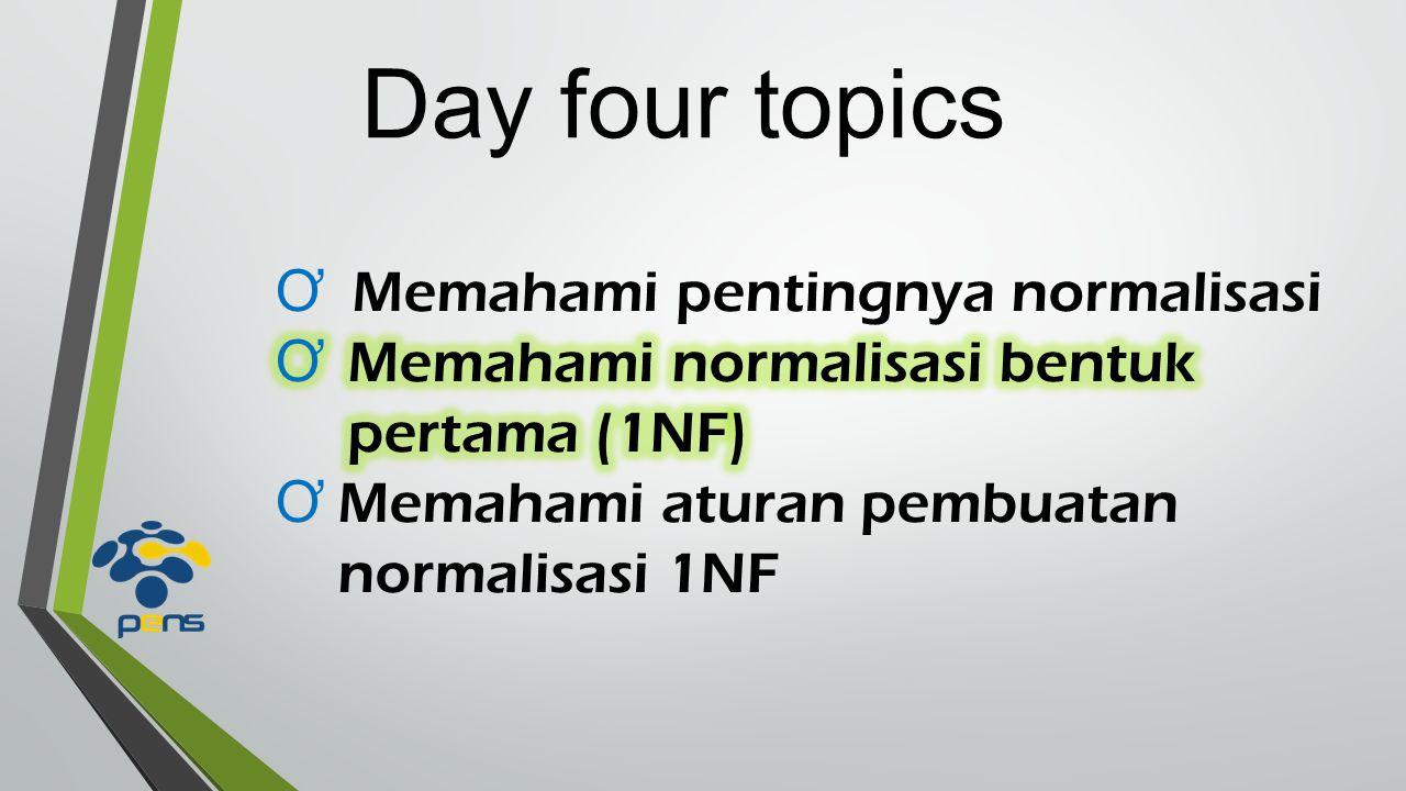 Day four topics Memahami pentingnya normalisasi
