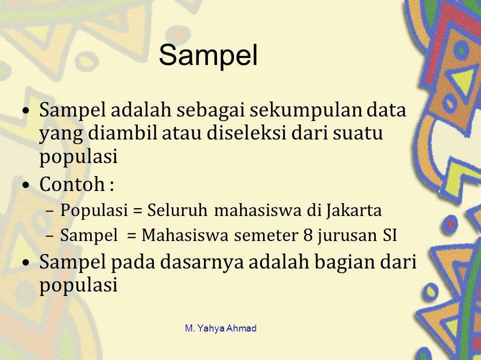 Sampel Sampel adalah sebagai sekumpulan data yang diambil atau diseleksi dari suatu populasi. Contoh :