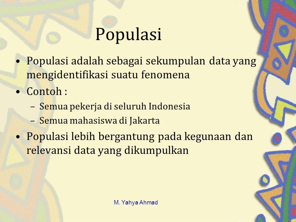 Populasi Populasi adalah sebagai sekumpulan data yang mengidentifikasi suatu fenomena. Contoh : Semua pekerja di seluruh Indonesia.