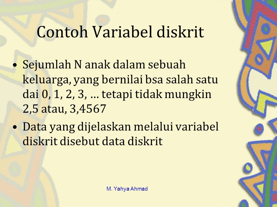 Contoh Variabel diskrit