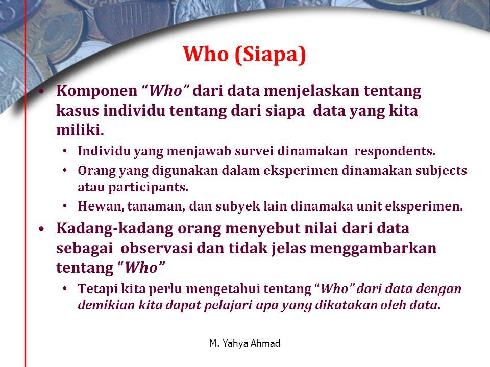 Who (Siapa) Komponen Who dari data menjelaskan tentang kasus individu tentang dari siapa data yang kita miliki.