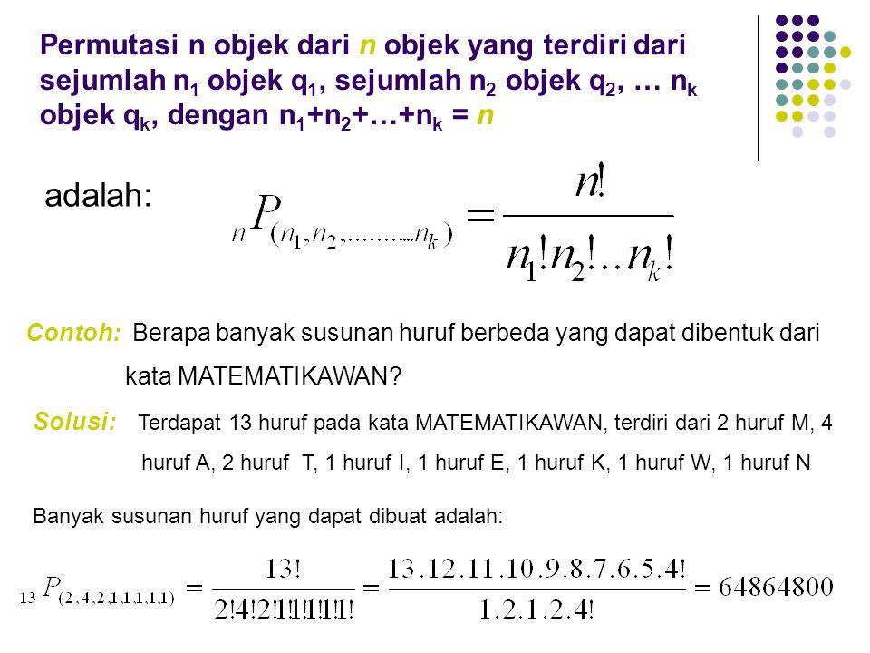 Permutasi n objek dari n objek yang terdiri dari sejumlah n1 objek q1, sejumlah n2 objek q2, … nk objek qk, dengan n1+n2+…+nk = n