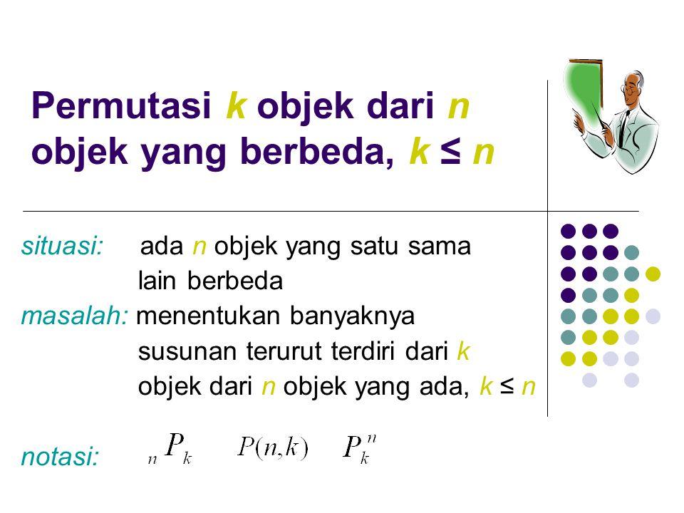 Permutasi k objek dari n objek yang berbeda, k ≤ n