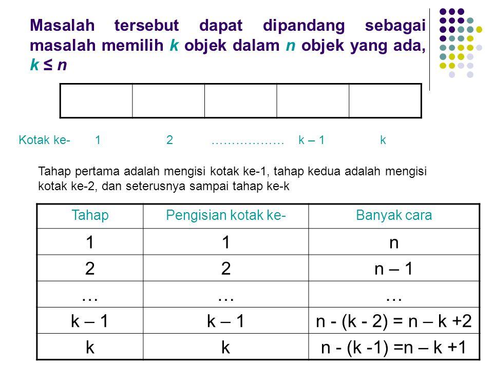 1 n 2 n – 1 … k – 1 n - (k - 2) = n – k +2 k n - (k -1) =n – k +1