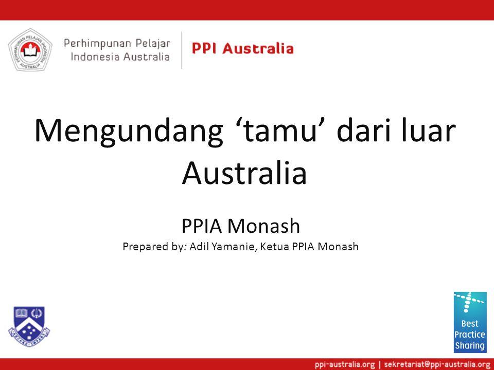Mengundang 'tamu' dari luar Australia