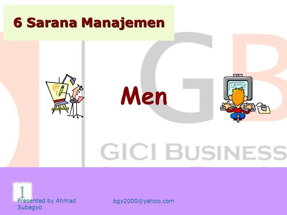6 Sarana Manajemen Men Presented by Ahmad Subagyo bgy2000@yahoo.com