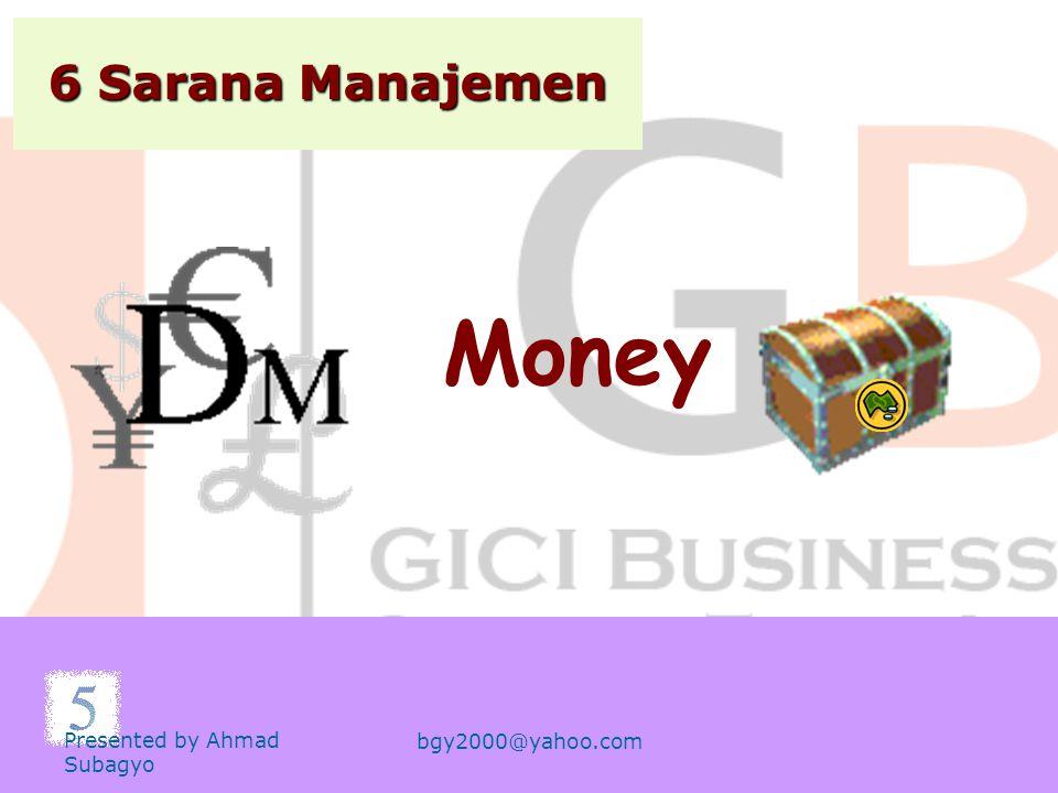 6 Sarana Manajemen Money Presented by Ahmad Subagyo bgy2000@yahoo.com