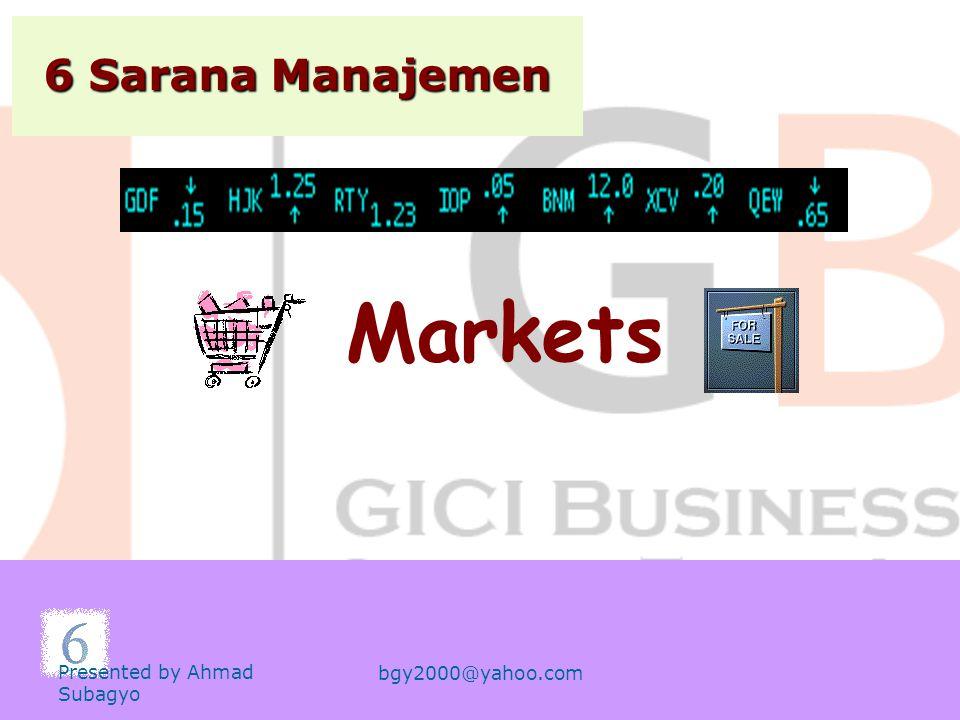 Markets 6 Sarana Manajemen Presented by Ahmad Subagyo