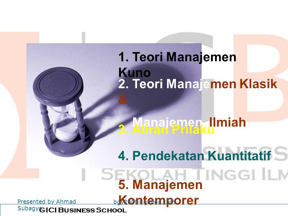 2. Teori Manajemen Klasik & Manajemen Ilmiah