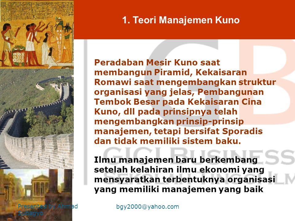 1. Teori Manajemen Kuno