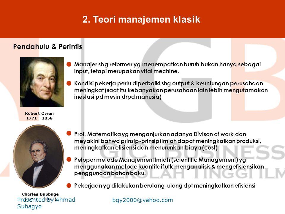 2. Teori manajemen klasik