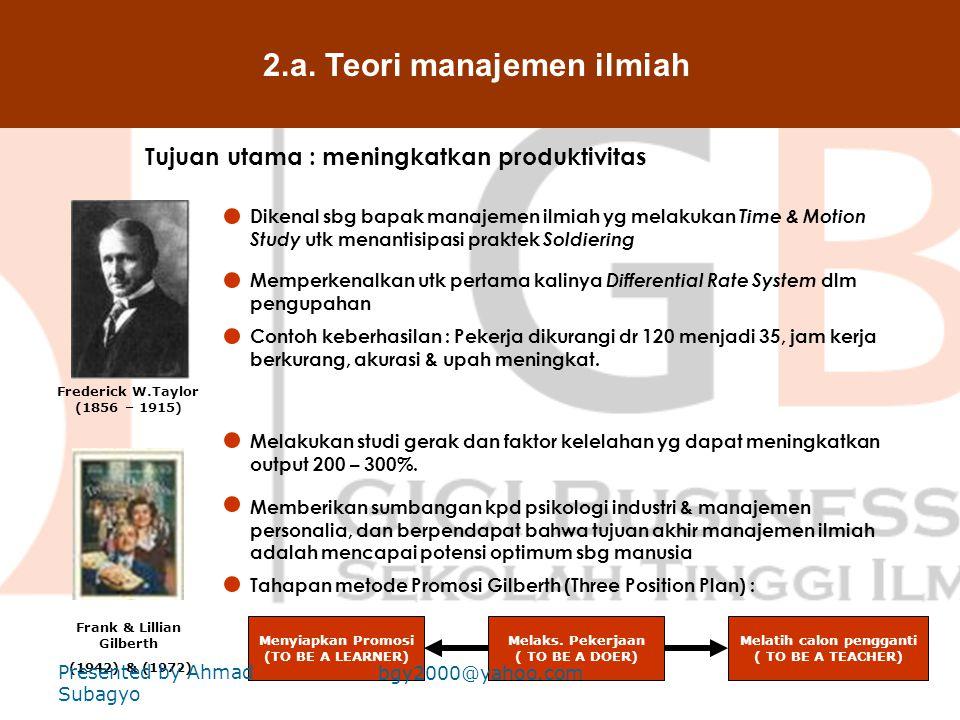 2.a. Teori manajemen ilmiah