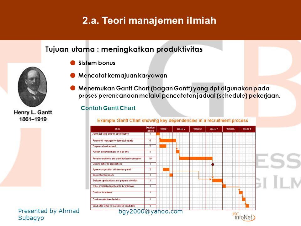 2.a. Teori manajemen ilmiah Tujuan utama : meningkatkan produktivitas