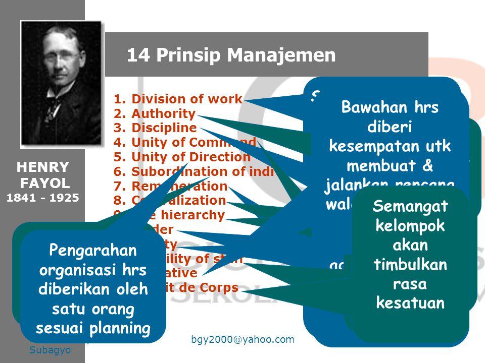 14 Prinsip Manajemen Semakin spesialis, semakin efisien pekerjaannya