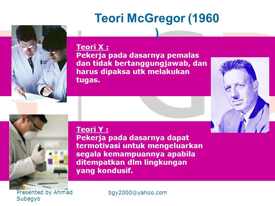 Teori McGregor (1960 ) Teori X :