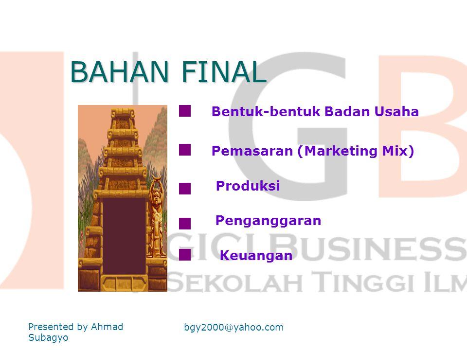BAHAN FINAL Bentuk-bentuk Badan Usaha Pemasaran (Marketing Mix)
