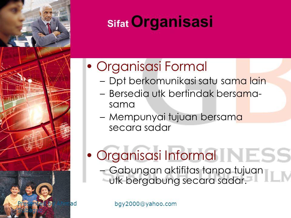 Organisasi Formal Organisasi Informal Sifat Organisasi
