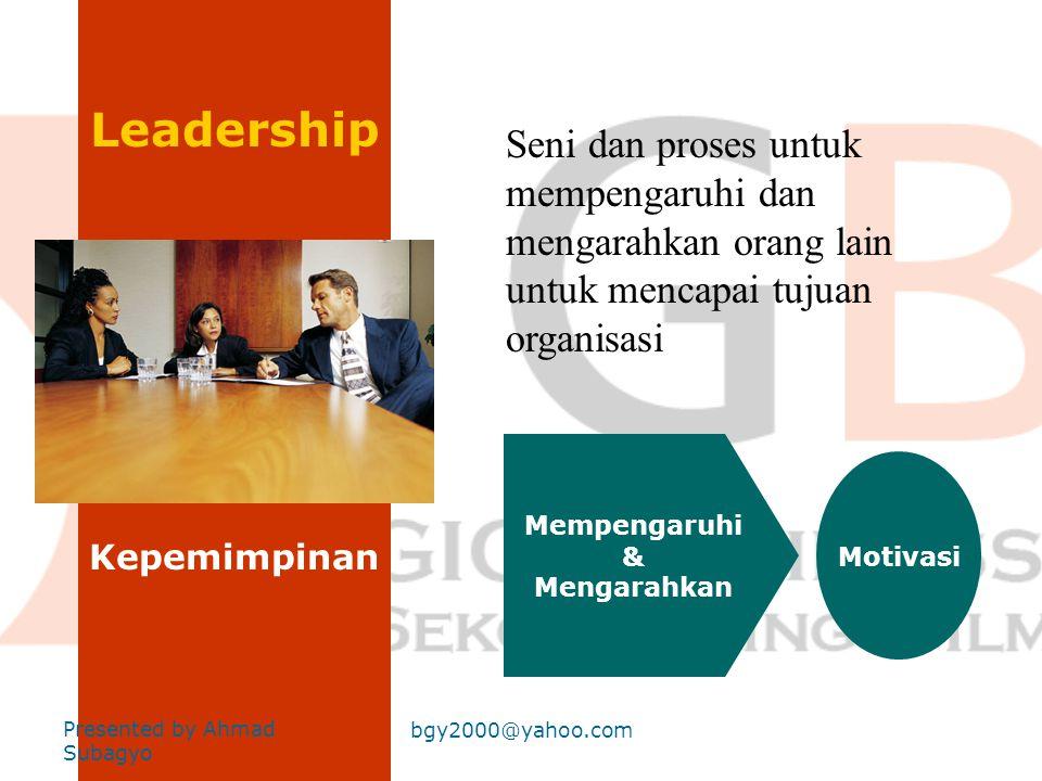 Leadership Seni dan proses untuk mempengaruhi dan mengarahkan orang lain untuk mencapai tujuan organisasi.