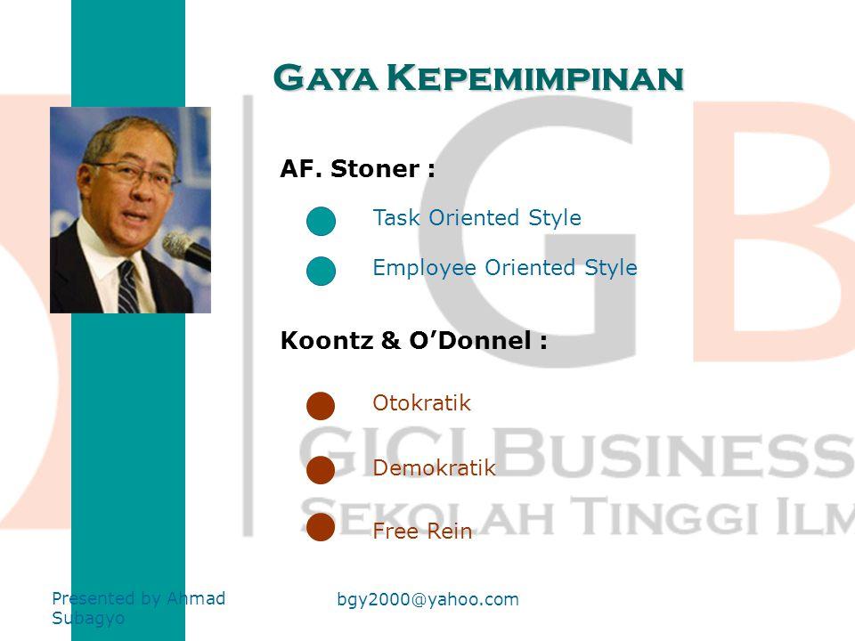 Gaya Kepemimpinan AF. Stoner : Koontz & O'Donnel : Task Oriented Style
