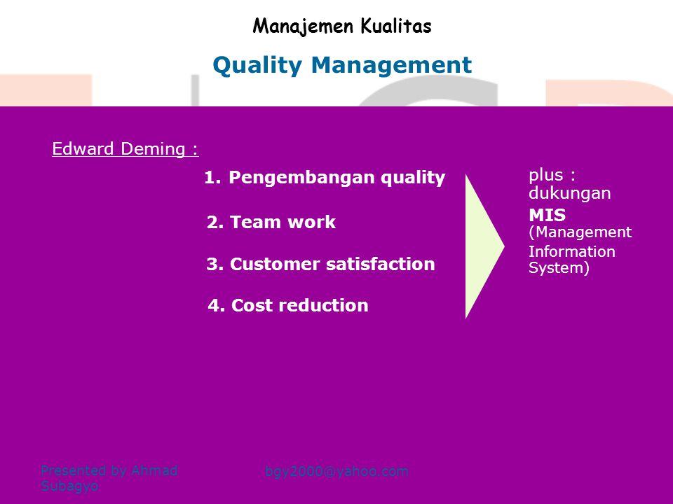 Quality Management Manajemen Kualitas Edward Deming : plus : dukungan