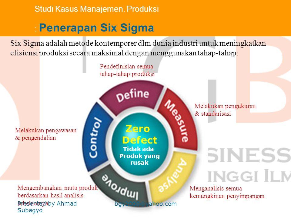 Zero Defect Studi Kasus Manajemen. Produksi : Penerapan Six Sigma