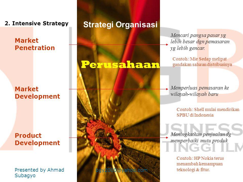 Perusahaan Strategi Organisasi Market Penetration Market Development