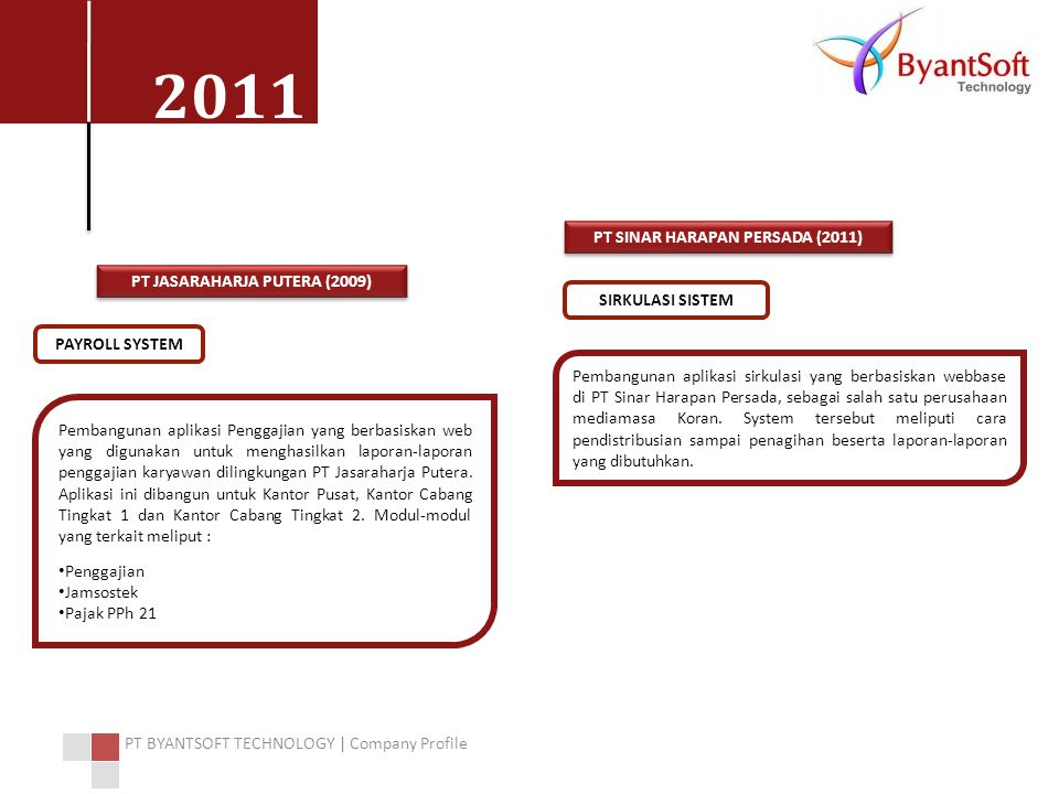 PT SINAR HARAPAN PERSADA (2011) PT JASARAHARJA PUTERA (2009)
