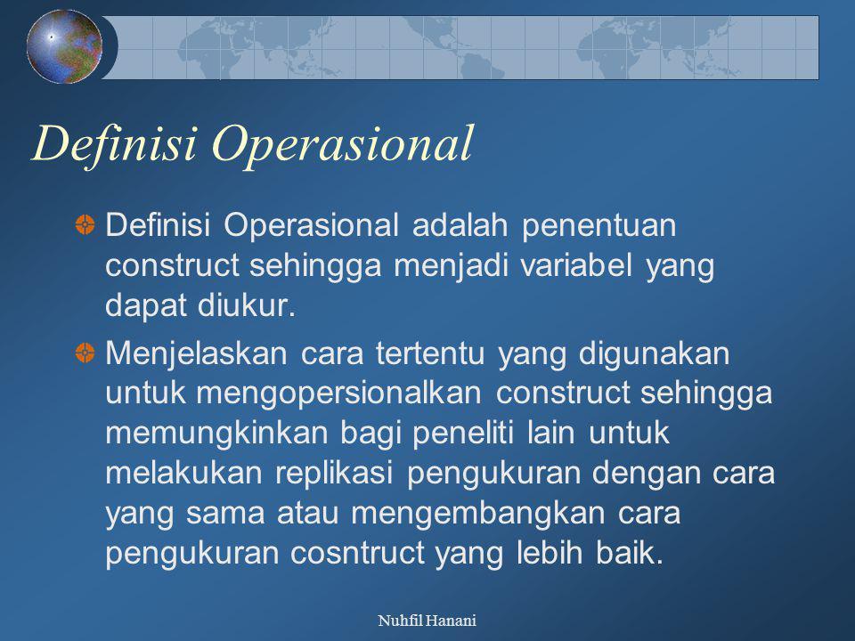 Definisi Operasional Definisi Operasional adalah penentuan construct sehingga menjadi variabel yang dapat diukur.