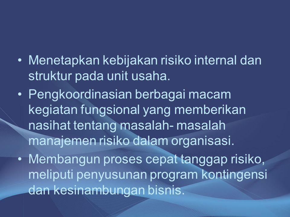 Menetapkan kebijakan risiko internal dan struktur pada unit usaha.
