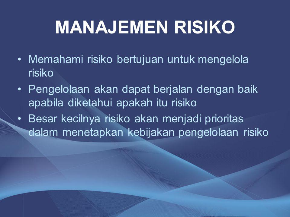 MANAJEMEN RISIKO Memahami risiko bertujuan untuk mengelola risiko