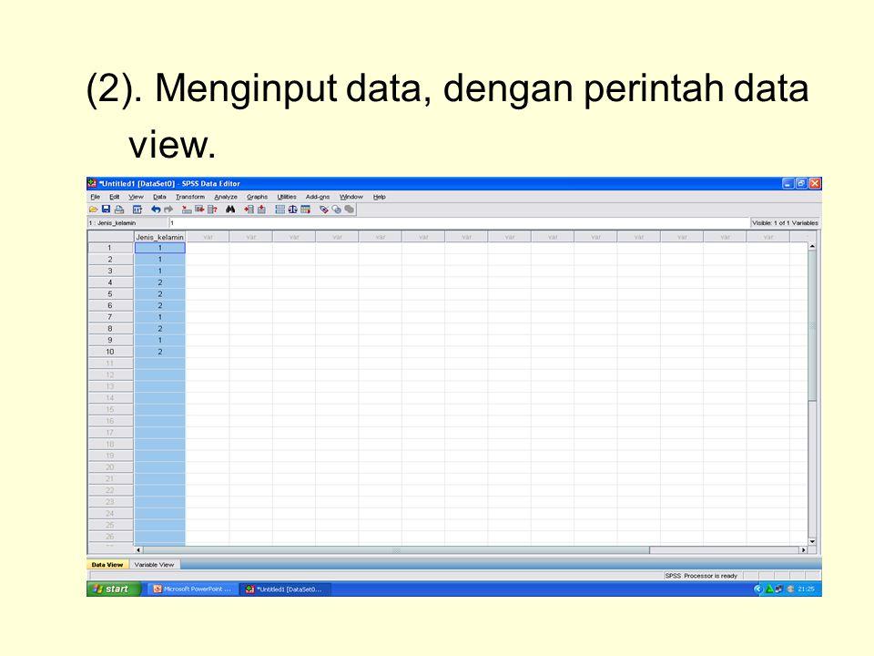 (2). Menginput data, dengan perintah data