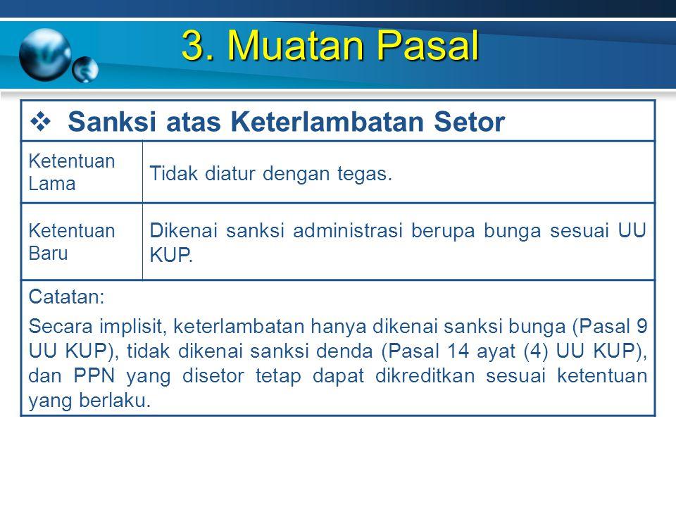 3. Muatan Pasal Sanksi atas Keterlambatan Setor
