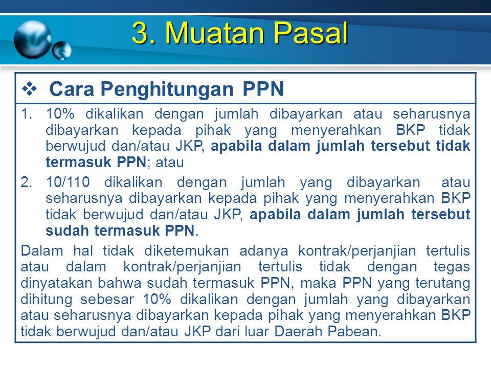 3. Muatan Pasal Cara Penghitungan PPN