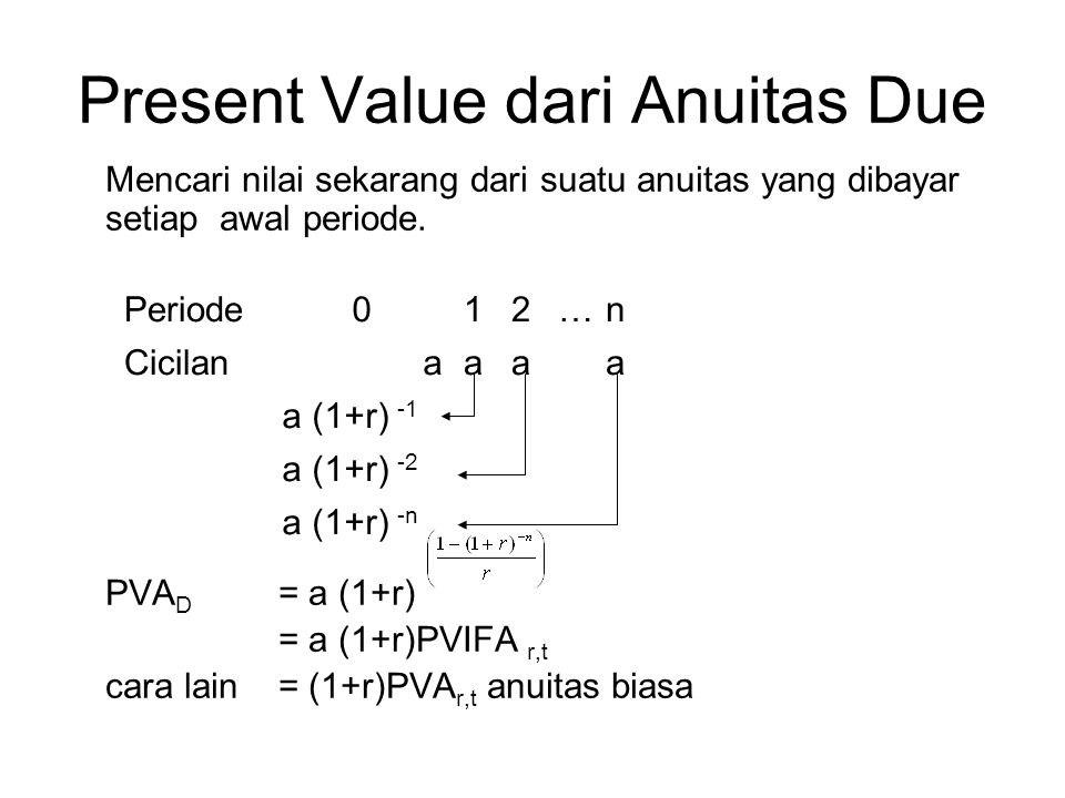 Present Value dari Anuitas Due