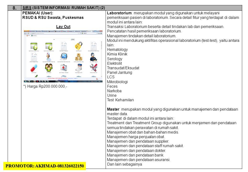 8. SIRS (SISTEM INFORMASI RUMAH SAKIT) (2) PEMAKAI (User): RSUD & RSU Swasta, Puskesmas. Lay Out.