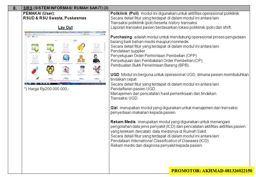 8. SIRS (SISTEM INFORMASI RUMAH SAKIT) (3) PEMAKAI (User): RSUD & RSU Swasta, Puskesmas. Lay Out.