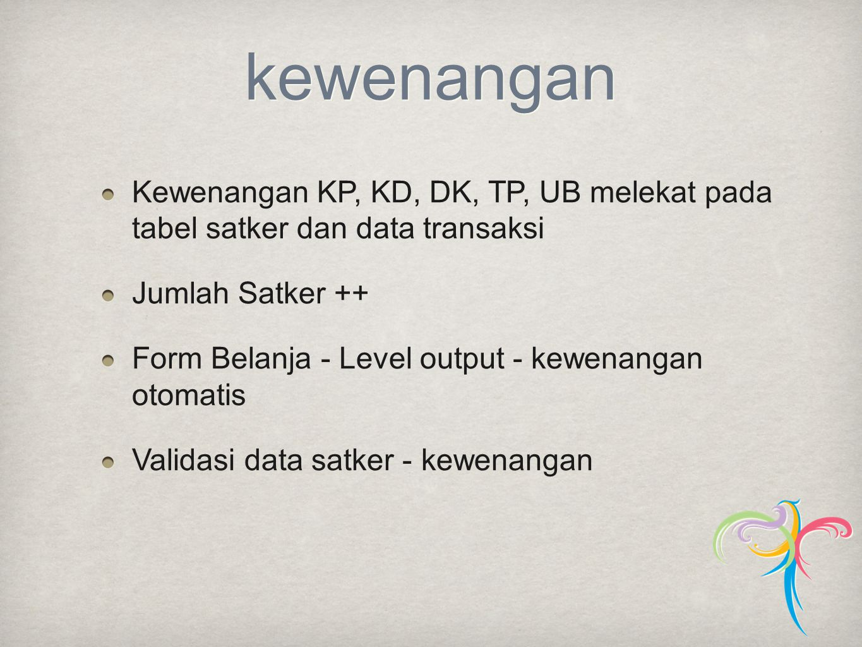 kewenangan Kewenangan KP, KD, DK, TP, UB melekat pada tabel satker dan data transaksi. Jumlah Satker ++