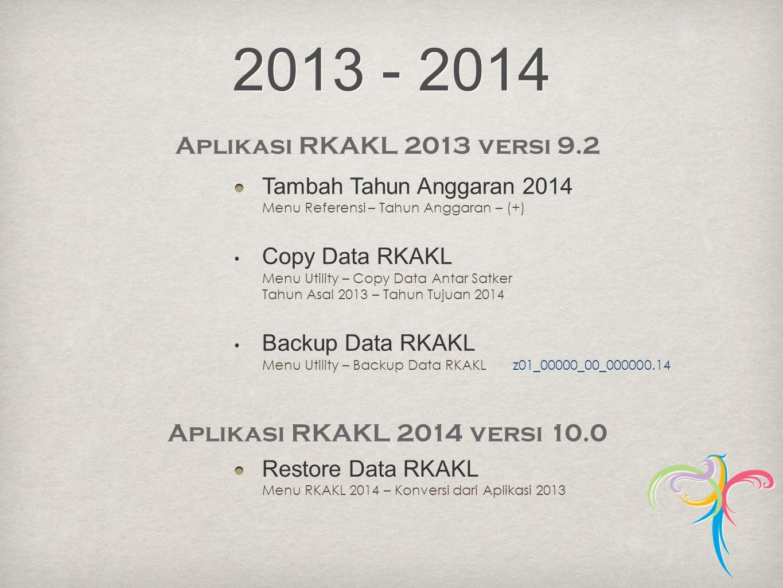 2013 - 2014 Aplikasi RKAKL 2013 versi 9.2. Tambah Tahun Anggaran 2014 Menu Referensi – Tahun Anggaran – (+)