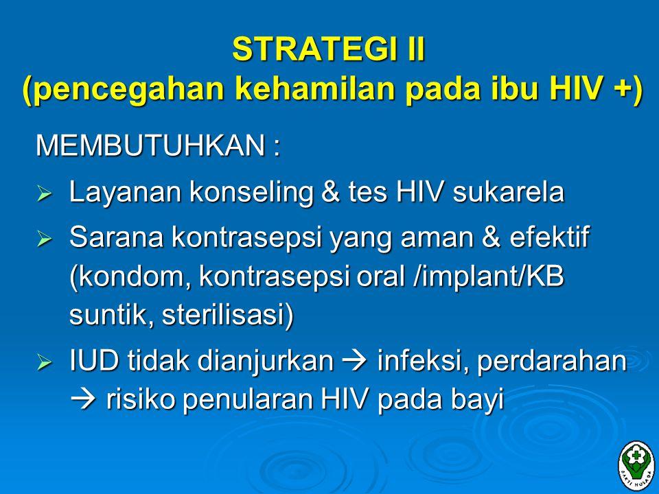 STRATEGI II (pencegahan kehamilan pada ibu HIV +)