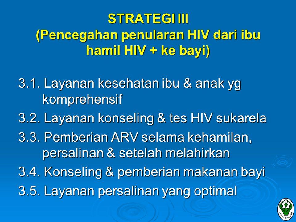 STRATEGI III (Pencegahan penularan HIV dari ibu hamil HIV + ke bayi)