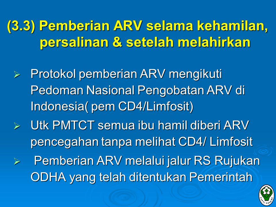 (3.3) Pemberian ARV selama kehamilan, persalinan & setelah melahirkan