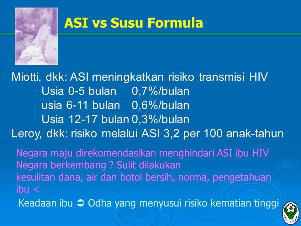 ASI vs Susu Formula Miotti, dkk: ASI meningkatkan risiko transmisi HIV