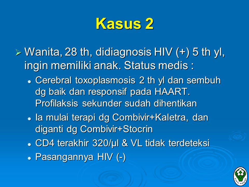 Kasus 2 Wanita, 28 th, didiagnosis HIV (+) 5 th yl, ingin memiliki anak. Status medis :