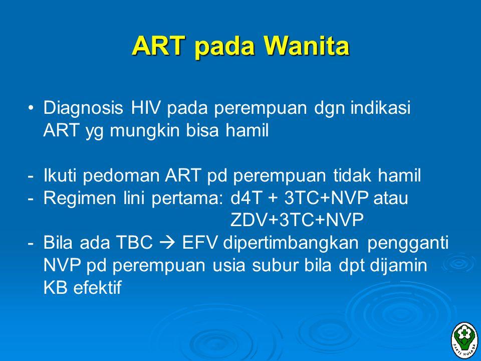 ART pada Wanita Diagnosis HIV pada perempuan dgn indikasi ART yg mungkin bisa hamil. Ikuti pedoman ART pd perempuan tidak hamil.