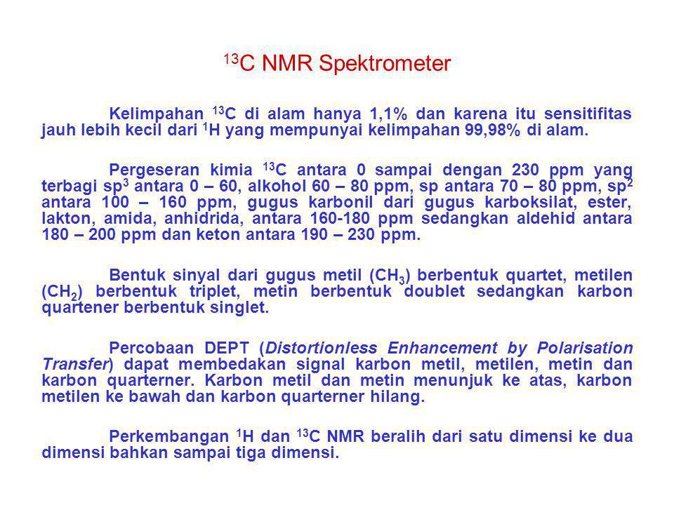 13C NMR Spektrometer Kelimpahan 13C di alam hanya 1,1% dan karena itu sensitifitas jauh lebih kecil dari 1H yang mempunyai kelimpahan 99,98% di alam.