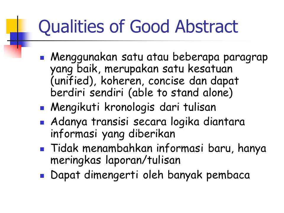 Qualities of Good Abstract