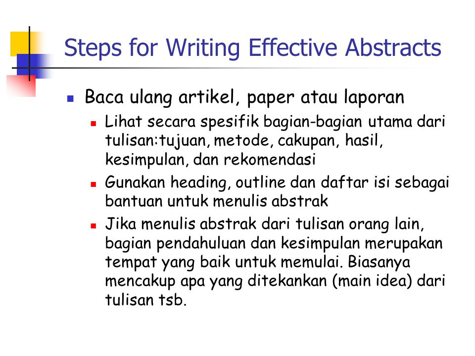 Steps for Writing Effective Abstracts