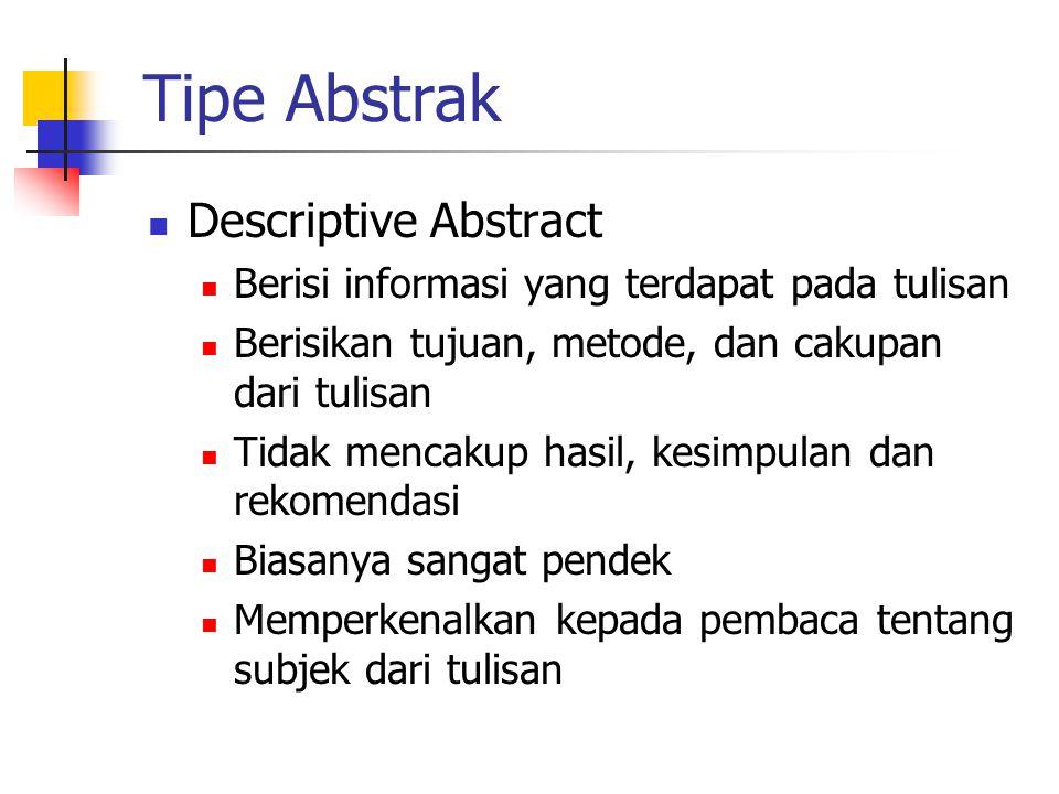 Tipe Abstrak Descriptive Abstract