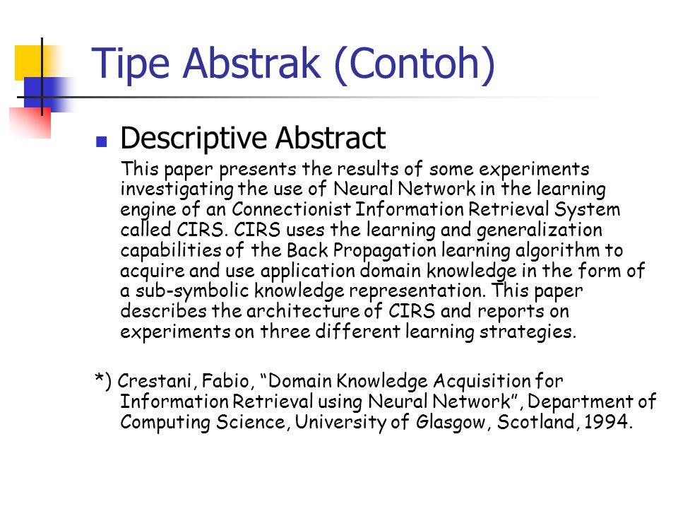 Tipe Abstrak (Contoh) Descriptive Abstract