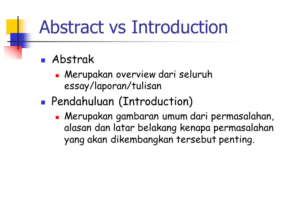 Abstract vs Introduction